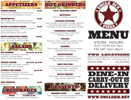 Uncle Si's Pizza - Tri-Fold Menu Side 1
