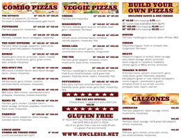 Uncle Si's Pizza - Tri-Fold Menu Side 2