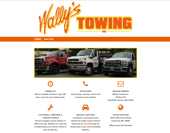 Wally's Towing Inc. website